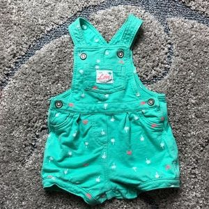 EUC CARTER'S Baby Green Palm Tree Overall Shorts